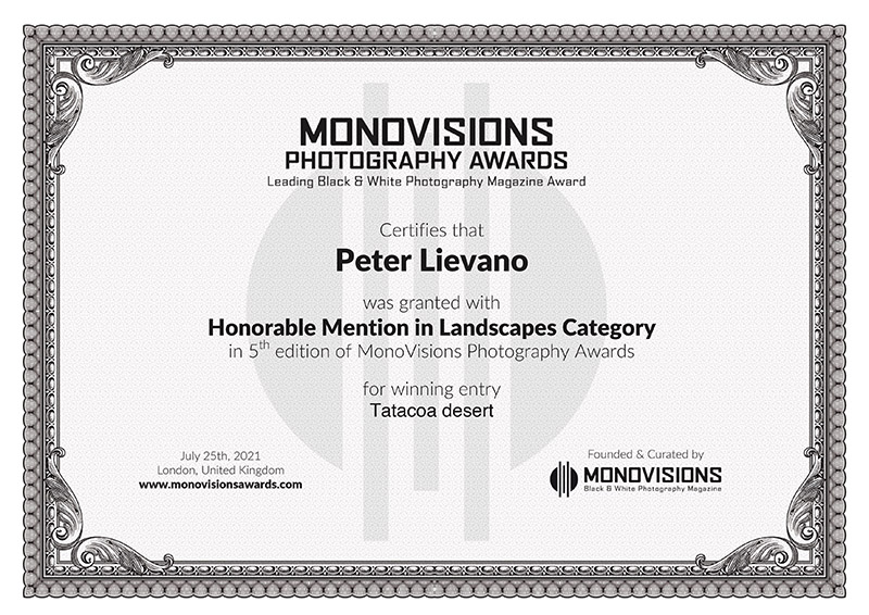 Monovision Certificate Peter Lievano